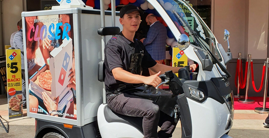 EMoS is trialling their light weight electric vehicles with Domino's Pizza.